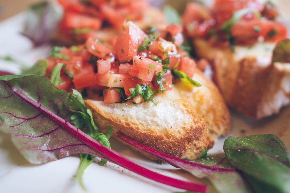 Bruschetta with rustic bread and tomato