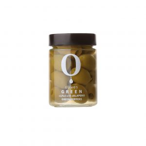 A glass jar filled with stuffed olives