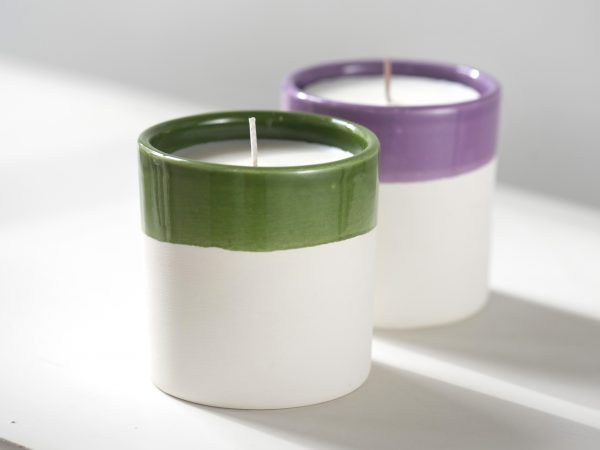 White clay ceramic candles